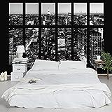 Vliestapete–Window View Manhattan Skyline schwarz-weiss–Wandbild Landschaft Format Tapete Wand Wandbild Foto Funktion 3D Tapete wall-art Tapete Wandmalereien Schlafzimmer Wohnzimmer Dimension HxB: 320cm x 480cm