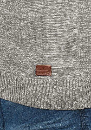 BLEND Danier Herren Strickpullover Feinstrick Pulli mit Rundhals-Ausschnitt aus hochwertiger Baumwollmischung Meliert Zink Mix (70815)