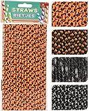 Unbekannt 64-TLG. Set Papierstrohhalme Strohhalme Mix - Halloween - orange/schwarz 20 cm