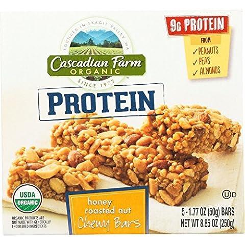 Cascadian Farm Granola Bar - Organic - Protein - Honey Roasted Nut - 8.85 oz - case of 12 - 95%+ Organic - - - - - by Cascadian Farm