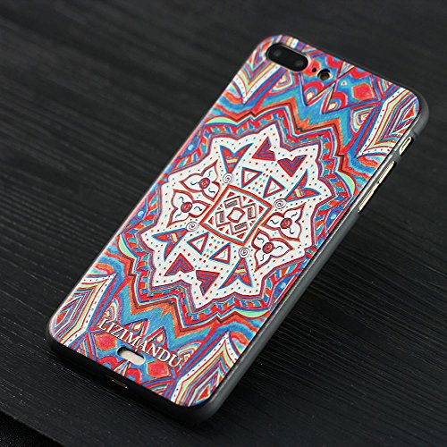 iPhone 7 Plus hülle,Lizimandu TPU 3D Handyhülle Muster Case Cover Für apple iphone 7 plus(Blaue Blume/Blue Flower) Maya Totem