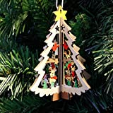 Siswong 1 Set Christmas Tree Hanging Ornaments Wooden Crafts Home Decor for Xmas Party