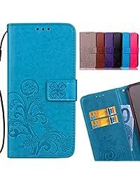 LEMORRY Huawei Y6 (2018) Hülle Tasche Ledertasche Beutel Slim Magnetisch SchutzHülle mit Kartenschlitz Weich Silikon Cover Schale Handyhülle für Huawei Y6 (2018), Glücklicher Klee (Blau)