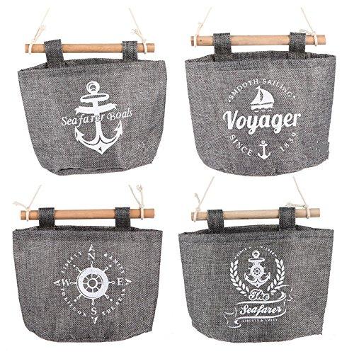 Joyfeel buy 4 Stück hängende Aufbewahrungstasche Baumwolle Leinen Volltonfarbe kombiniert Wand hängen Tasche für Home Office Hotel -