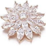 Ouran - Spilla a forma di fiore per donne, con strass luccicanti, per spose, in rame, stile vintage, con cristalli e zirconia
