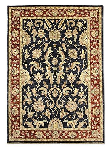 Pak Persian Rugs Handgeknüpfter Mahal Teppich, Schwarz, Wolle, 199 X 284 cm (Mahal Teppich Schwarz)