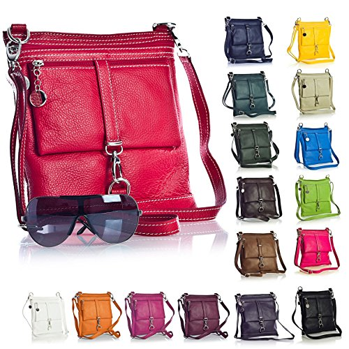 Big Handbag Shop Borsa a tracolla Messenger tipo cross-over in autentico Pelle Italiana 24x26x3 cm (LxAxP) Red (LL419)