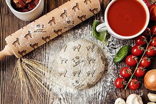 ArtDog Ltd. Baskischer Schäferhund, gravierter Nudelholz, für Kuchen und Kekse, Küchengerät