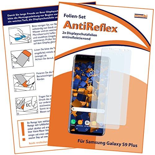 2 x mumbi Displayschutzfolie für Samsung Galaxy S9+ Schutzfolie AntiReflex matt (bewusst kleiner als das Display, da dieses gewölbt ist)