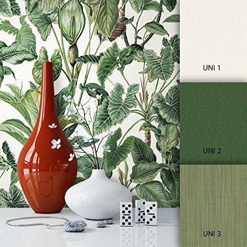 NEWROOM Blumentapete Grün Vliestapete Blumen Muster/Motiv schöne moderne und edle Design Optik,...