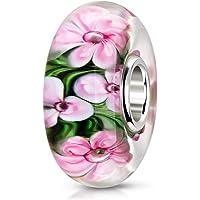 MATERIA Ciondolo in vetro di Murano a forma di fiore, rosa e verde – Argento 925, ciondolo in vetro per braccialetto…