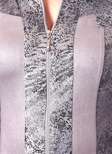PoshTops Damen Zip-Up Blazer mit Kent Kragen Dehnbares Material Frauen Shirt Langarm Größen S �?XXXL Abendkleidung Freizeitkleidung Plus Size Grau