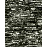 Papel pintado súperlavable con relieve aspecto piedra EDEM 1003-34 natural tipo mampuesto negro gris