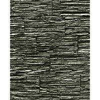 Carta da parati spazzolabile effetto muro di pietra naturale EDEM 1003-34 in rilievo ardesia lavagna nero grigio