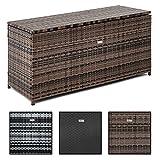 ESTEXO Polyrattan Auflagenbox 120 x 60 x 50 cm aus Polyrattan, Rattan, Box für den Garten, Truhe, Kissenbox (Schwarz)