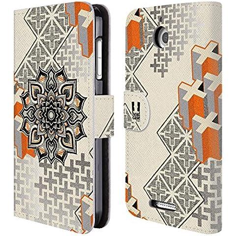 Head Case Designs Mandala E Croce Arte Puntiforme 2 Cover telefono a portafoglio in pelle per HTC Desire 510 - Croce Cucita Arte