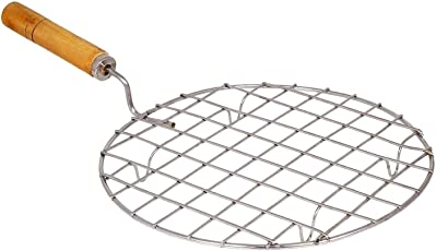 Kitchen Mart Stainless Steel Roaster Papad Jali, Pizza, Barbecue Grill with Wooden Handle (Round 17 CM)