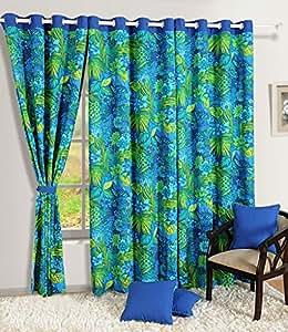 Swayam Premium Printed Floral Eyelet Cotton Long Door Curtain - 9ft, Turquoise