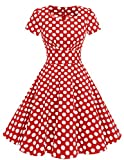 Dresstells Damen Vintage 50er Rockabilly Kurzarm Swing Kleider Partykleid Red White Dot S