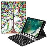 Fintie Bluetooth Tastatur Hülle kompatibel mit iPad 9.7 2018, Soft TPU Rückseite Abdeckung Keyboard Case mit eingebautem Apple Pencil Halter und magnetisch Abnehmbarer drahtloser Tastatur, Liebesbaum