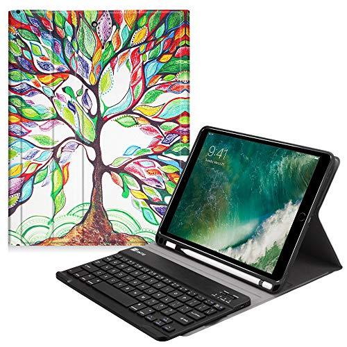 tatur Hülle kompatibel mit iPad 9.7 2018, Soft TPU Rückseite Abdeckung Keyboard Case mit eingebautem Apple Pencil Halter und magnetisch Abnehmbarer drahtloser Tastatur, Liebesbaum ()