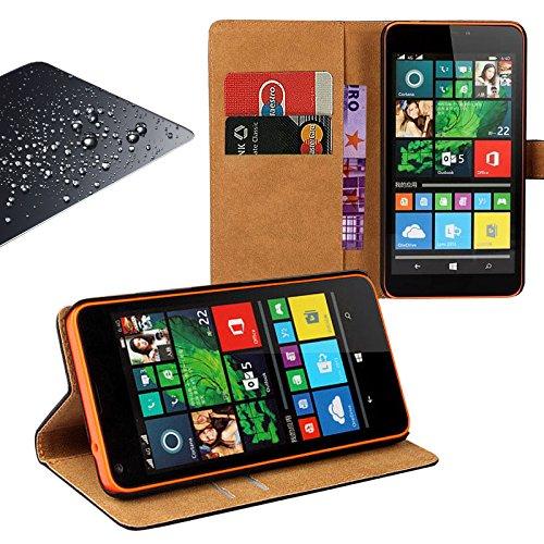 EximMobile - Book Case Handytasche + Panzerglasfolie für Microsoft Lumia 550 | Schutzhülle in Orange mit Kartenfächer aus Kunstleder Handyhülle | Panzerglas Schutzfolie Panzerfolie Folie | Etui Cover