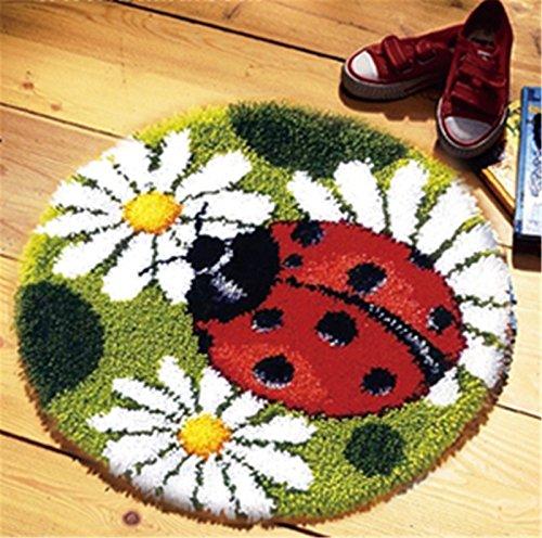 Marienkäfer Teppich (Beyond Your Thoughts Marienkäfer Knüpfteppich Formteppich für Kinder und Erwachsene zum Selber Knüpfen Teppich Latch Hook Kit Child Rug Animal 025 50 by 40 cm)