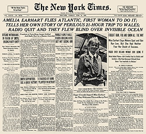 Amelia Earhart (1897-1937). /Namerican Aviator. Front Page of The New York Times 19 June 1928. Kunstdruck (60,96 x 91,44 cm)