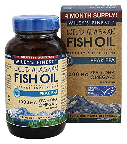 Wiley's Finest - Wild Alaskan Fish Oil 1000mg EPA + DHA Peak EPA Omega 3 Supplement - 120 Softgels
