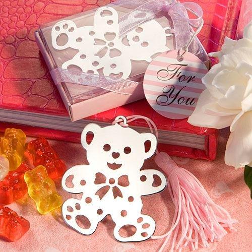 (6 X Mädchen Teddybär-Entwurf Lesezeichen Baby Shower Taufe Bevorzugungen Geschenke - Pink (2 Satz))