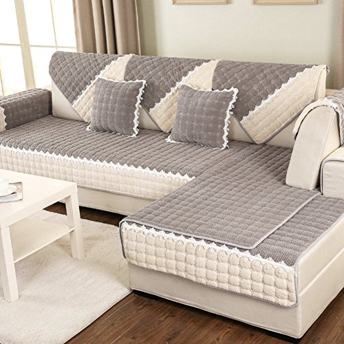 DW&HX Acolchado Protector para sofás Protector de los Muebles para Mascotas Perro,3 Asientos Color sólido Espesar Funda de sofá Antideslizante -I 28x71inch(70x180cm)