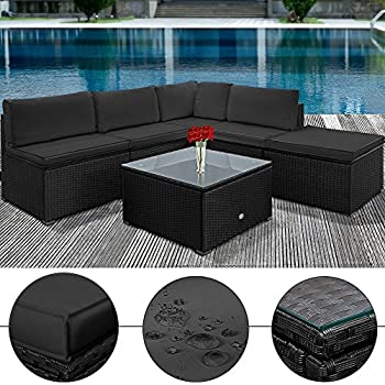 Rattan lounge schwarz grau  Amazon.de: Poly Rattan Lounge Set Anthrazit Schwarz XXL ✓ 20cm ...