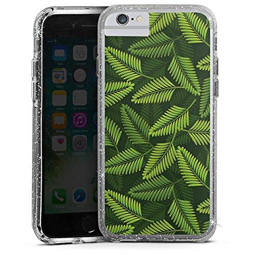 Apple iPhone 6s Plus Bumper Hülle Bumper Case Glitzer Hülle Palme Pflanzen Plants Bumper Case Glitzer silber