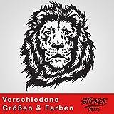 LÖWE Wandtattoo Wandaufkleber Sticker Aufkleber Löwenkopf (100 (B) x 117 (H) cm, Schwarz)