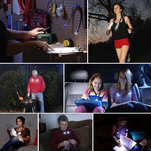 confronta il prezzo LEDGLE LED luce del libro, mani libere, braccio flessibile, intorno al collo, meglio per letto a leggere o leggere in auto, 4 LED luminoso eccellente lampadine, 3 livelli di controllo della luce miglior prezzo