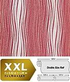 Streifen Tapete Vliestapete EDEM 695-94 Designer Tapete geschwungene Linien himbeer-rot silber gold 10,65 qm