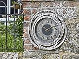 Outdoor Wanduhr Große zeitgenössische Gartendekoration Metall Bronze Effekt 50cm