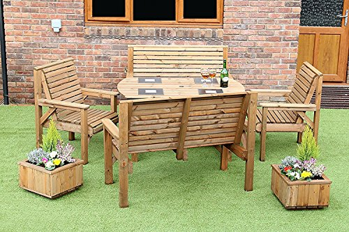 STAFFORDSHIRE GARDEN FURNITURE 4 FEET 6 INCH WOODEN GARDEN FURNITURE PATIO SET TABLE +2 BENCHES AND 2 CHAIRS