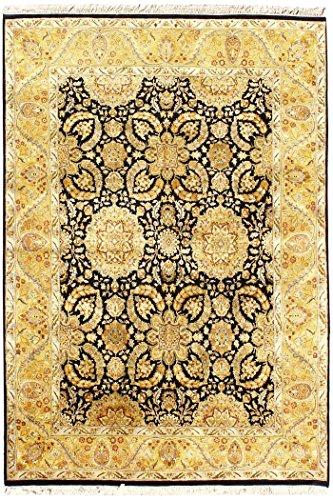 Arts of India indisch Blumen Design Schwarz Wolle Handgefertigt Handgeknüpft Jaipur/Orientalisch 9'X12' Bodenfläche Teppich -