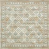 Tappeto moderno in stile rustico tradizionale, dimensioni 182,9 cm x 182,9 cm, quadrato, beige Cambridge, tappeto contemporaneo