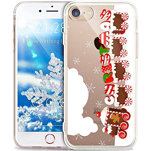 PHEZEN iPhone 5s Fall, iPhone SE, Weihnachten, iPhone SE 5 5S Crystal Clear TPU Case, Xmas Design Ultra Slim Soft Silikon Gel Haut Handytasche Cover für iPhone SE/5/5S Christmas Train