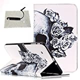 TOCASO Schutzhülle für Samsung Galaxy Tab E 9.6 Leder, Flip Case Hülle für Samsung Galaxy Tab E 9.6 Tasche Cases Soft Silikon für Tablet Samsung Galaxy Tab E 9.6 Retina Display (Weiß,Skull)