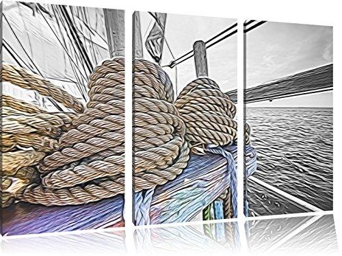 Seile am Schiff3-Teiler Leinwandbild 120x80 Bild auf Leinwand, XXL riesige Bilder fertig gerahmt mit Keilrahmen, Kunstdruck auf Wandbild mit Rahmen, gänstiger als Gemälde oder Ölbild, kein Poster oder Plakat