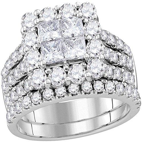Sonia Jewels - 14 Kt Weißgold Prinzessschliff Rundschliff Leicht Getöntes Weiß/Top Crystal (I) Weißer Diamant