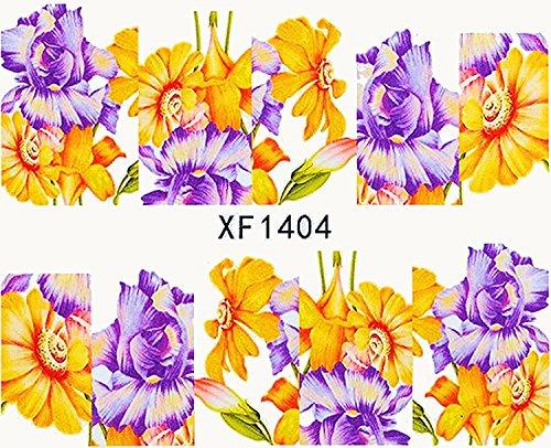 1 planche de Slider/Wrap/Full Cover Nail Stickers pour ongles, Hydrosoluble : XF de 1404 Fleurs