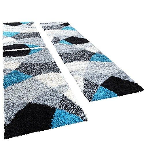 Shaggy Läufer Bettumrandung Hochflor Teppich Vigo In Versch. Farben 3er Set, Farbe:Tuerkis, Läuferset Größen:2 mal 70x140 1 mal 70x250 cm - Creme Läufer Teppich