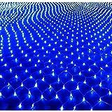 HJ® 3 m * 3 m Lichter Netz mit 300er LEDs Lichternetz Lichterkette Wasserdicht Innen und Außen Dekoration Blau