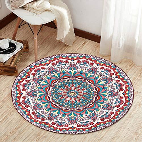 Rund Teppich Wohnzimmer Kinderzimmer Schlafzimmer Kuche Esszimmer, Morbuy 3D Mandala Anti Rutsch Unterlage Teppiche rutschfest Waschbare Weiche Spielmatte Personalisiert Dekoration (80x80cm,H)