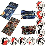 #9: SNDIA 2-PCS Bandanas Face Mask Headband Scarf Head wrap Neck warmer & More Multifunctional for Music Festivals, Raves, Riding, and Outdoors. [Variant Design]