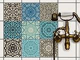 Fliesenaufkleber - CREATISTO Fliesenfolie u. Mosaikfliesen | Fliesen-Sticker Folie Aufkleber für Badezimmer Deko - Folie für Badezimmer-Gestaltung | 15x15 cm - Motiv Marokkanisch - 9 Stück